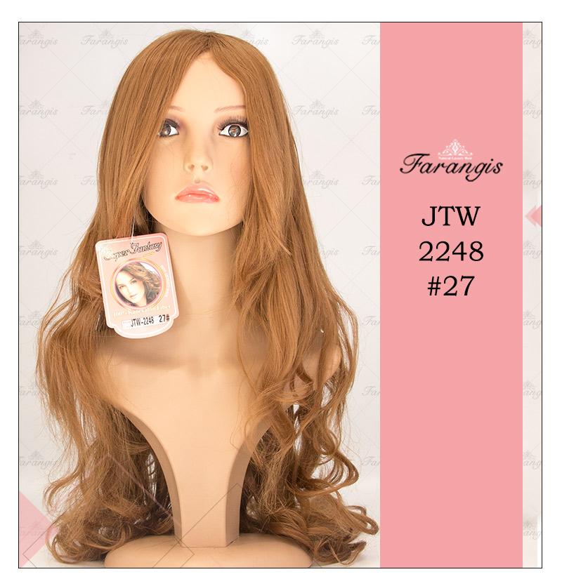 کلاه گیس زنانه عسلی متوسط مدل JTW-2248 کد 27