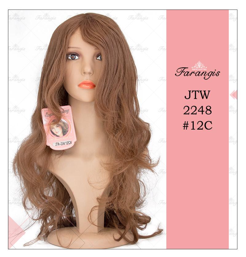 کلاه گیس زنانه قهوه ای عسلی متوسط مدل JTW-2248 کد 12C