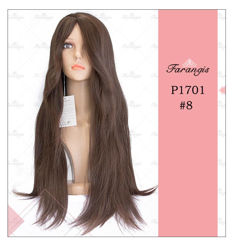 کلاه گیس زنانه قهوه ای زیتونی مدل P1701 کد 8