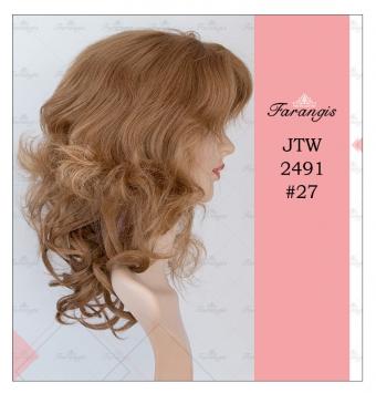 کلاه گیس زنانه عسلی متوسط مدل JTW2491 کد 27